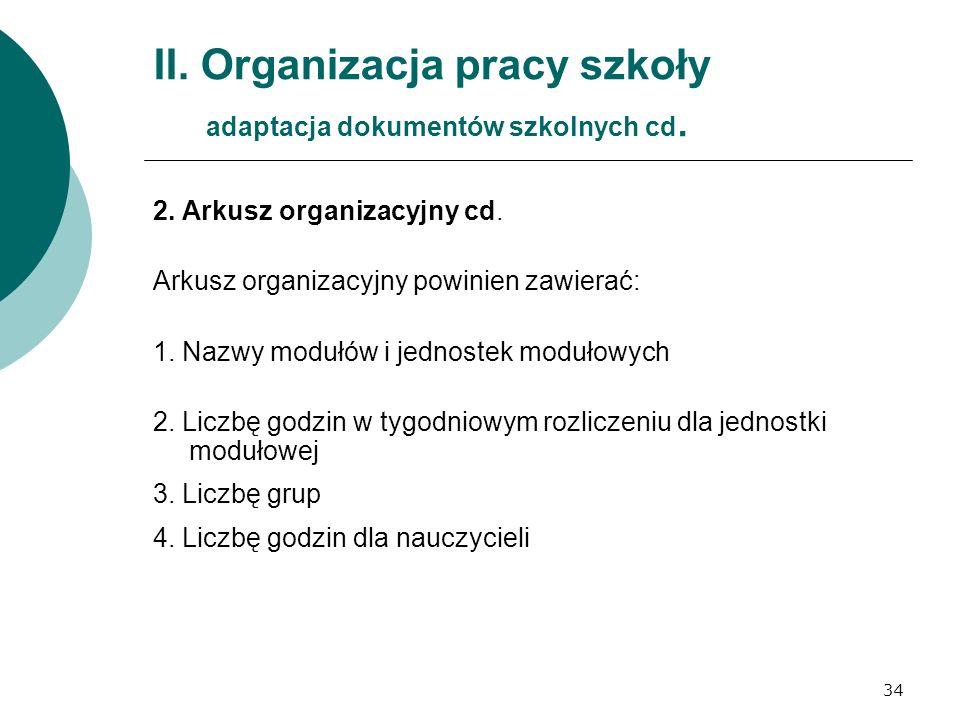 34 II. Organizacja pracy szkoły adaptacja dokumentów szkolnych cd. 2. Arkusz organizacyjny cd. Arkusz organizacyjny powinien zawierać: 1. Nazwy modułó