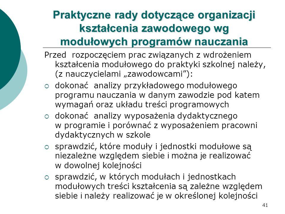 41 Praktyczne rady dotyczące organizacji kształcenia zawodowego wg modułowych programów nauczania Przed rozpoczęciem prac związanych z wdrożeniem kszt