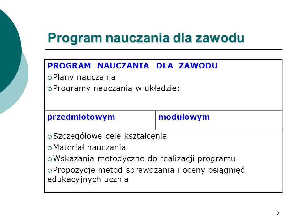 5 Program nauczania dla zawodu PROGRAM NAUCZANIA DLA ZAWODU  Plany nauczania  Programy nauczania w układzie: przedmiotowymmodułowym  Szczegółowe ce