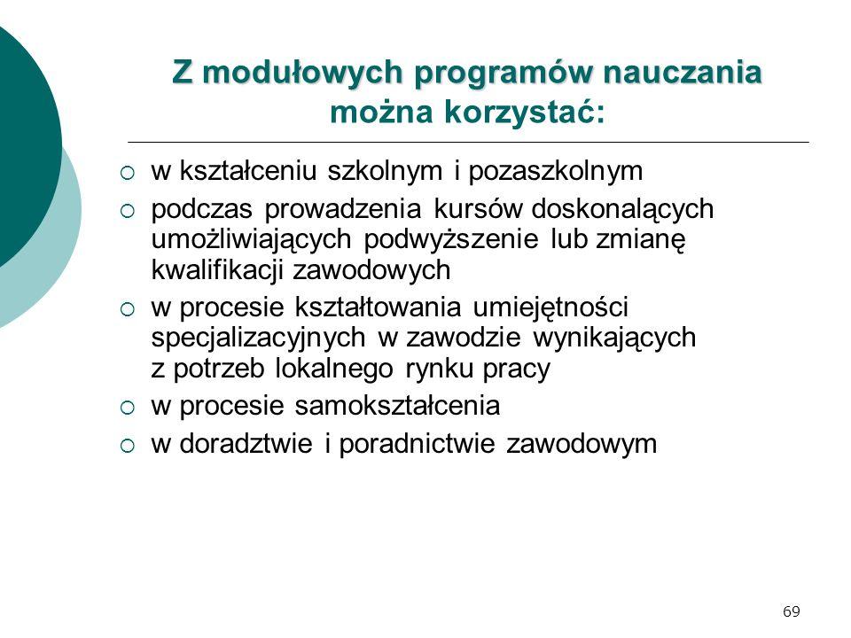 69 Z modułowych programów nauczania Z modułowych programów nauczania można korzystać:  w kształceniu szkolnym i pozaszkolnym  podczas prowadzenia ku