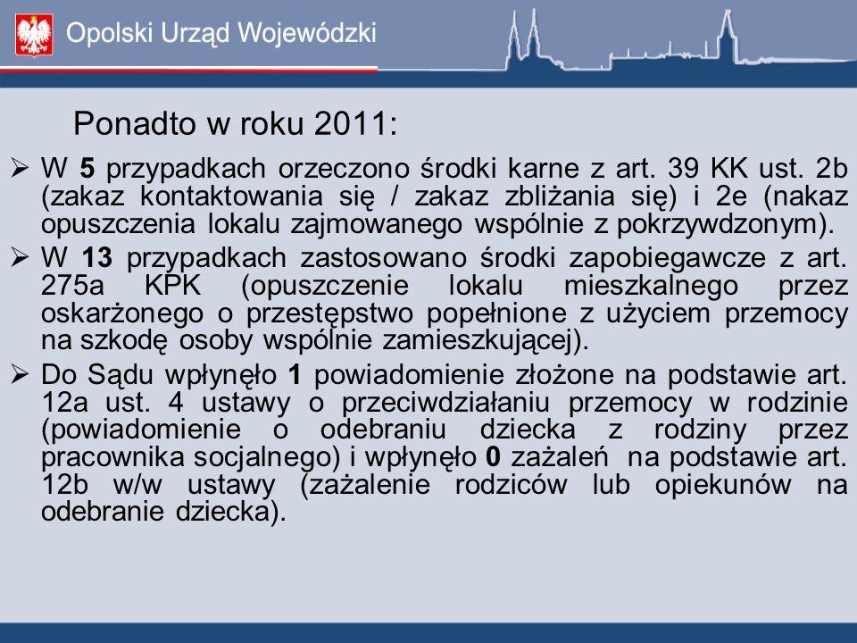 Ponadto w roku 2011:  W 5 przypadkach orzeczono środki karne z art.