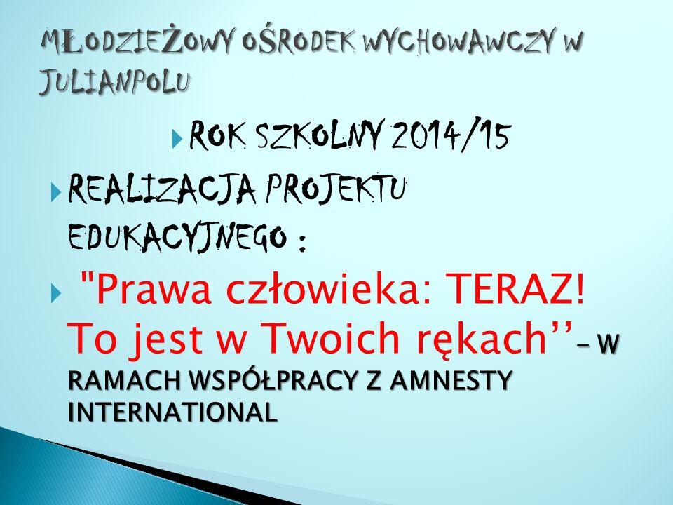  ROK SZKOLNY 2014/15  REALIZACJA PROJEKTU EDUKACYJNEGO : - W RAMACH WSPÓŁPRACY Z AMNESTY INTERNATIONAL  Prawa człowieka: TERAZ.