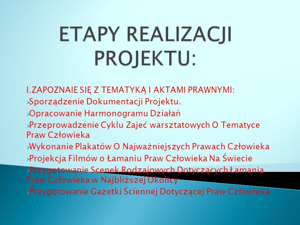 I.ZAPOZNAIE SIĘ Z TEMATYKĄ I AKTAMI PRAWNYMI:  Sporządzenie Dokumentacji Projektu.