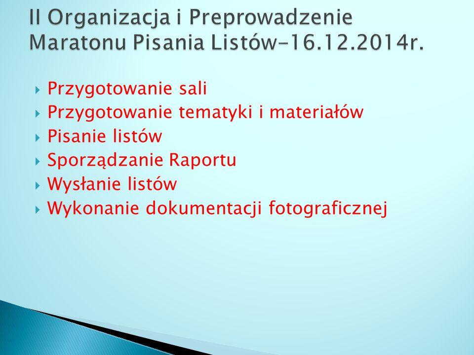  Przygotowanie sali  Przygotowanie tematyki i materiałów  Pisanie listów  Sporządzanie Raportu  Wysłanie listów  Wykonanie dokumentacji fotograficznej