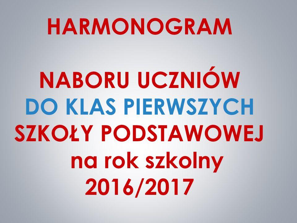 HARMONOGRAM NABORU UCZNIÓW DO KLAS PIERWSZYCH SZKOŁY PODSTAWOWEJ na rok szkolny 2016/2017
