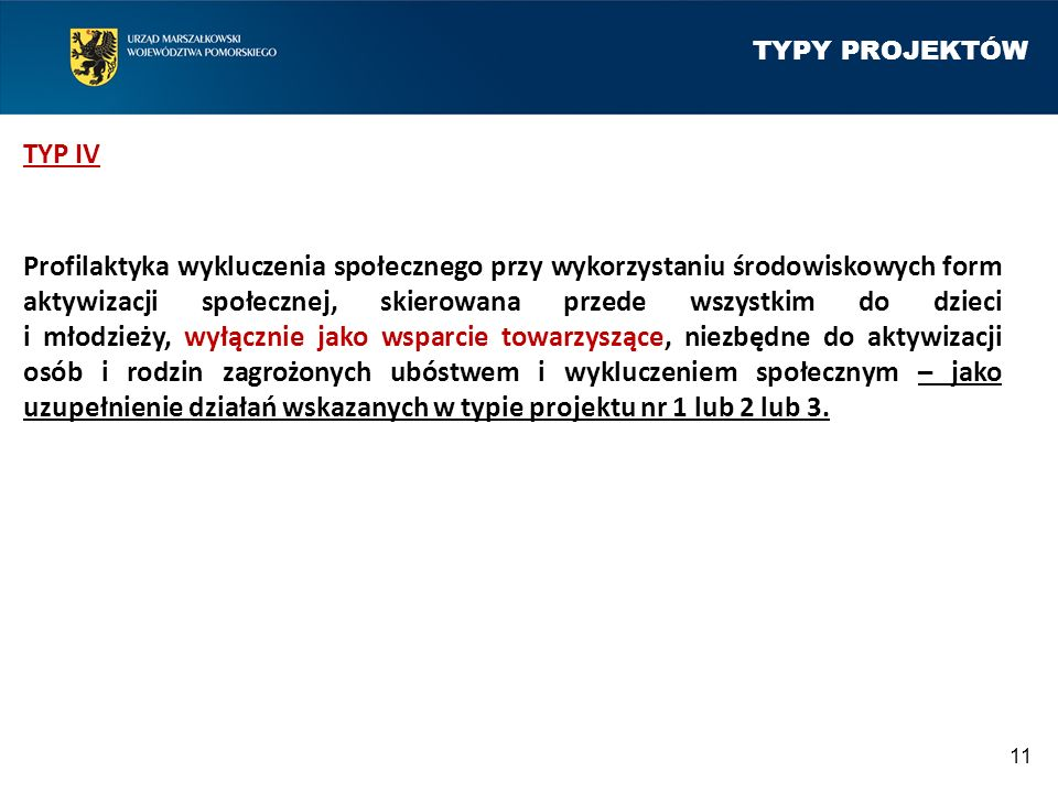 TYPY PROJEKTÓW TYP IV Profilaktyka wykluczenia społecznego przy wykorzystaniu środowiskowych form aktywizacji społecznej, skierowana przede wszystkim