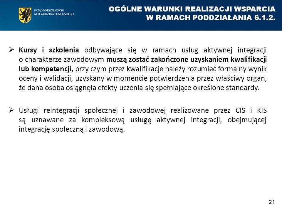 OGÓLNE WARUNKI REALIZACJI WSPARCIA W RAMACH PODDZIAŁANIA 6.1.2.  Kursy i szkolenia odbywające się w ramach usług aktywnej integracji o charakterze za
