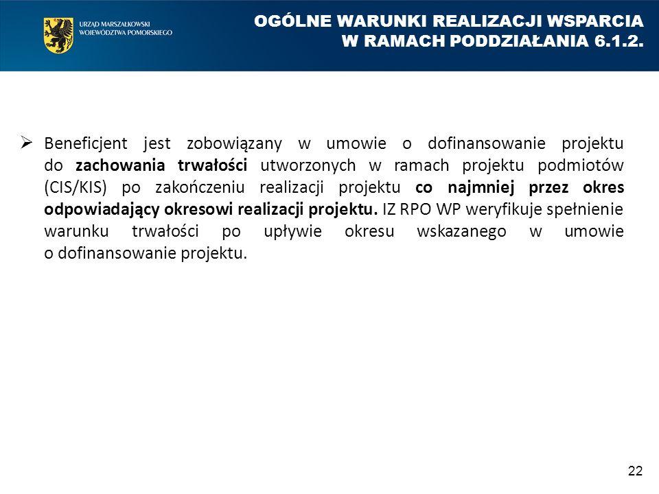 OGÓLNE WARUNKI REALIZACJI WSPARCIA W RAMACH PODDZIAŁANIA 6.1.2.  Beneficjent jest zobowiązany w umowie o dofinansowanie projektu do zachowania trwało