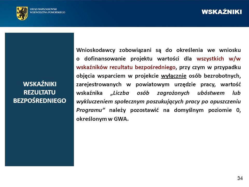 WSKAŹNIKI 34 Wnioskodawcy zobowiązani są do określenia we wniosku o dofinansowanie projektu wartości dla wszystkich w/w wskaźników rezultatu bezpośred