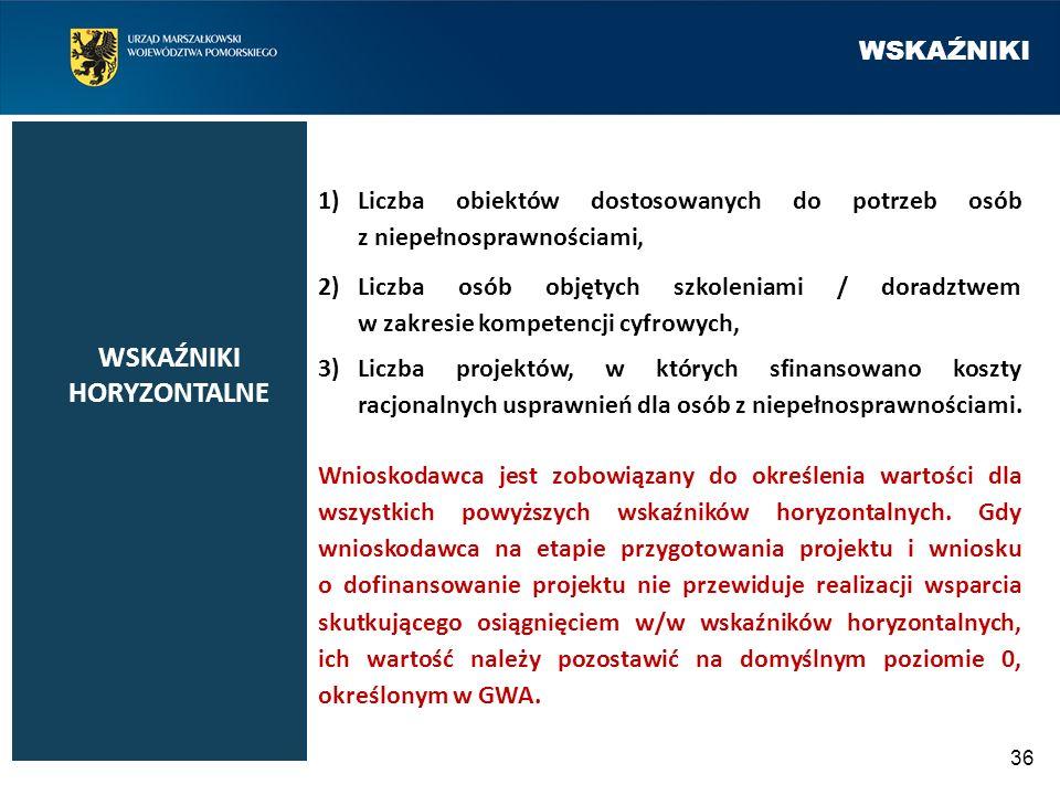 WSKAŹNIKI 36 1)Liczba obiektów dostosowanych do potrzeb osób z niepełnosprawnościami, 2)Liczba osób objętych szkoleniami / doradztwem w zakresie kompe