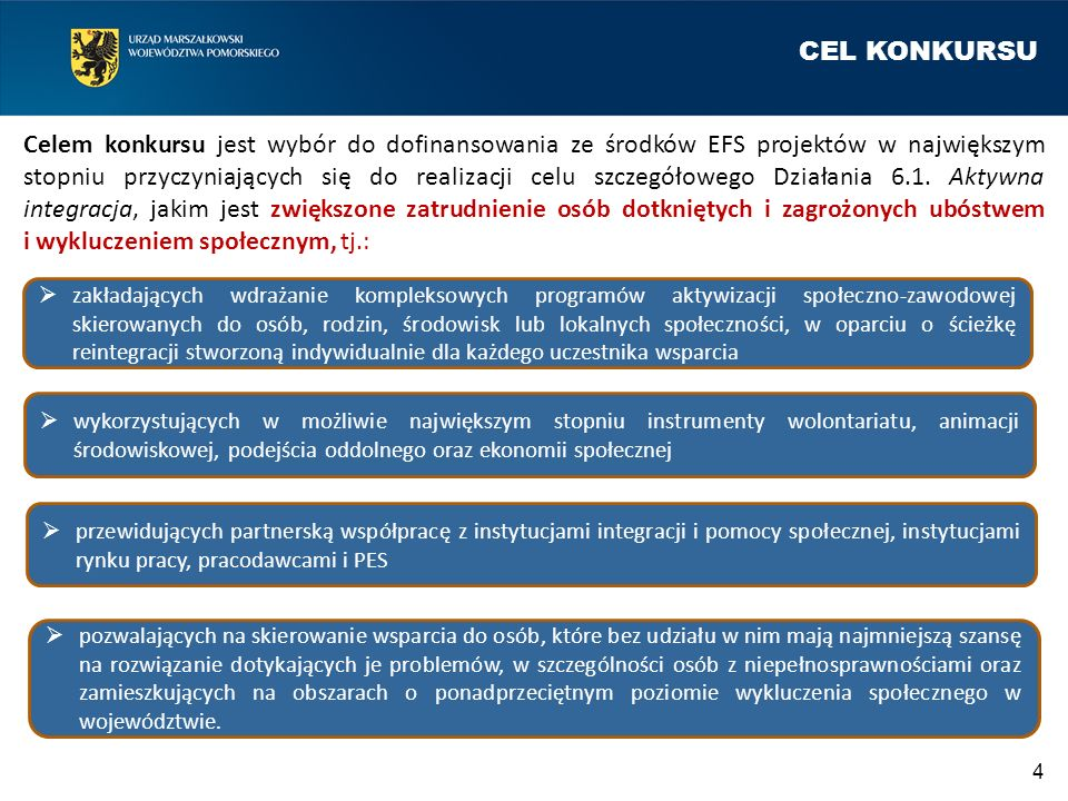 CEL KONKURSU Celem konkursu jest wybór do dofinansowania ze środków EFS projektów w największym stopniu przyczyniających się do realizacji celu szczeg