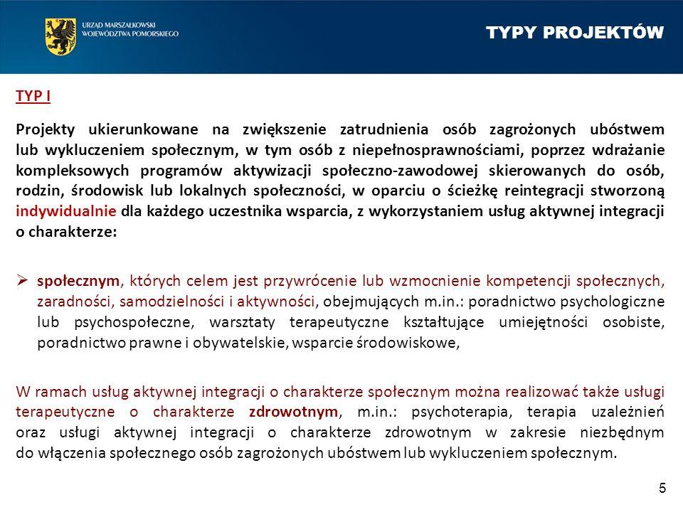 TYPY PROJEKTÓW TYP I Projekty ukierunkowane na zwiększenie zatrudnienia osób zagrożonych ubóstwem lub wykluczeniem społecznym, w tym osób z niepełnosp