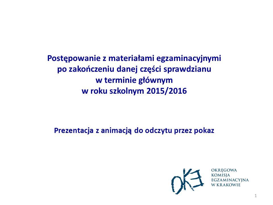 Postępowanie z materiałami egzaminacyjnymi po zakończeniu danej części sprawdzianu w terminie głównym w roku szkolnym 2015/2016 Prezentacja z animacją
