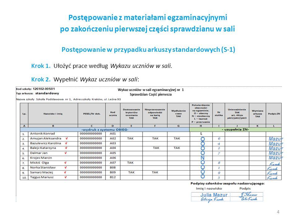 Postępowanie z materiałami egzaminacyjnymi po zakończeniu pierwszej części sprawdzianu w sali Postępowanie w przypadku arkuszy standardowych (S-1) Kro