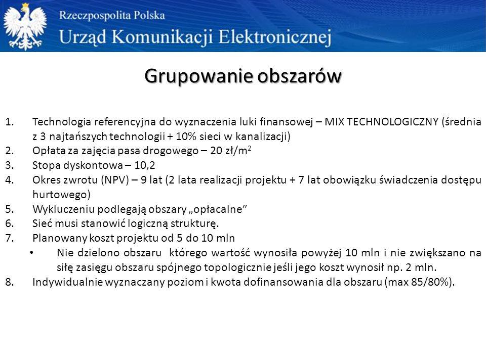 """Grupowanie obszarów 1.Technologia referencyjna do wyznaczenia luki finansowej – MIX TECHNOLOGICZNY (średnia z 3 najtańszych technologii + 10% sieci w kanalizacji) 2.Opłata za zajęcia pasa drogowego – 20 zł/m 2 3.Stopa dyskontowa – 10,2 4.Okres zwrotu (NPV) – 9 lat (2 lata realizacji projektu + 7 lat obowiązku świadczenia dostępu hurtowego) 5.Wykluczeniu podlegają obszary """"opłacalne 6.Sieć musi stanowić logiczną strukturę."""