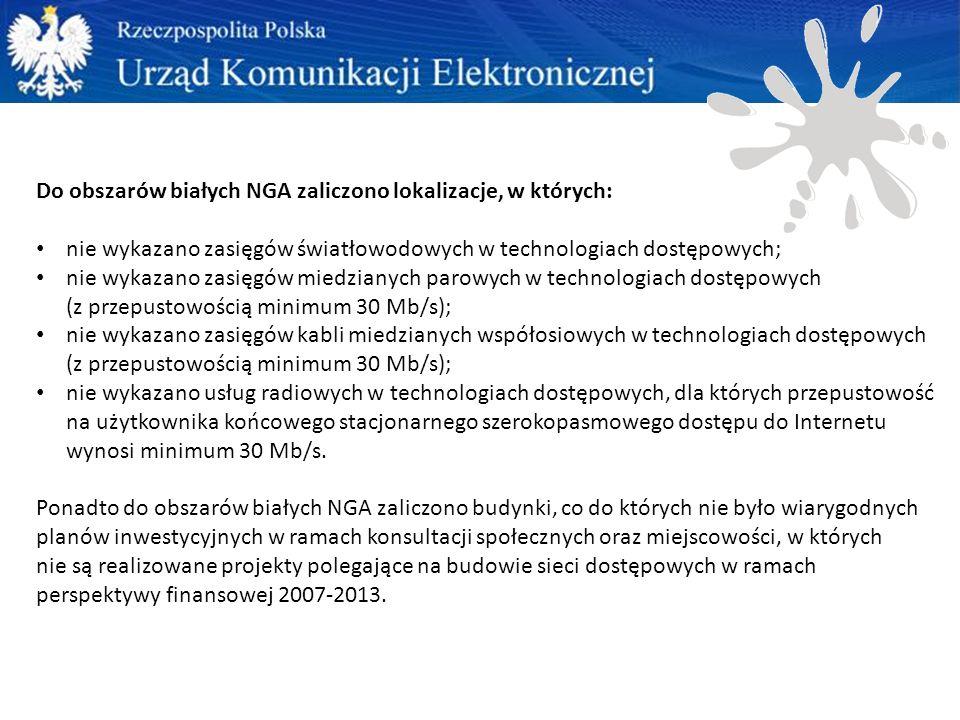Do obszarów białych NGA zaliczono lokalizacje, w których: nie wykazano zasięgów światłowodowych w technologiach dostępowych; nie wykazano zasięgów miedzianych parowych w technologiach dostępowych (z przepustowością minimum 30 Mb/s); nie wykazano zasięgów kabli miedzianych współosiowych w technologiach dostępowych (z przepustowością minimum 30 Mb/s); nie wykazano usług radiowych w technologiach dostępowych, dla których przepustowość na użytkownika końcowego stacjonarnego szerokopasmowego dostępu do Internetu wynosi minimum 30 Mb/s.