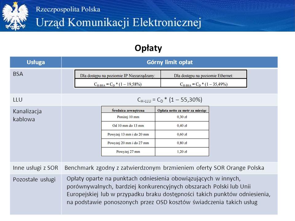 Opłaty UsługaGórny limit opłat BSA LLUC H-LLU = C D * (1 – 55,30%) Kanalizacja kablowa Inne usługi z SORBenchmark zgodny z zatwierdzonym brzmieniem oferty SOR Orange Polska Pozostałe usługi Opłaty oparte na punktach odniesienia obowiązujących w innych, porównywalnych, bardziej konkurencyjnych obszarach Polski lub Unii Europejskiej lub w przypadku braku dostępności takich punktów odniesienia, na podstawie ponoszonych przez OSD kosztów świadczenia takich usług