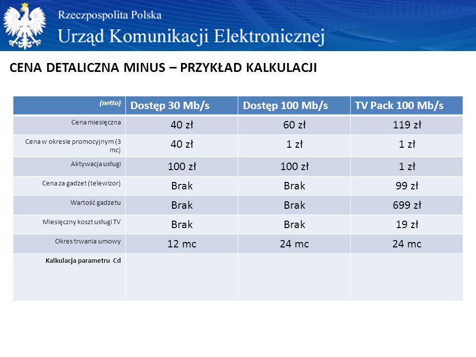 CENA DETALICZNA MINUS – PRZYKŁAD KALKULACJI (netto) Dostęp 30 Mb/sDostęp 100 Mb/sTV Pack 100 Mb/s Cena miesięczna 40 zł60 zł119 zł Cena w okresie prom