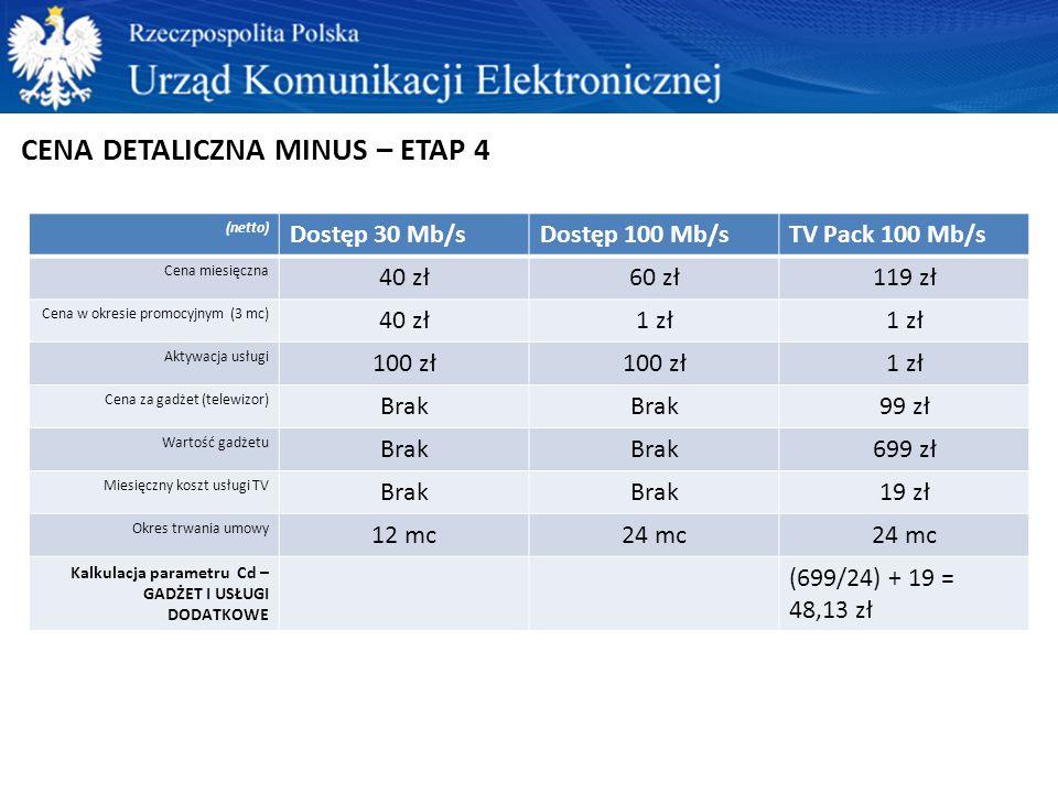 CENA DETALICZNA MINUS – ETAP 4 (netto) Dostęp 30 Mb/sDostęp 100 Mb/sTV Pack 100 Mb/s Cena miesięczna 40 zł60 zł119 zł Cena w okresie promocyjnym (3 mc) 40 zł1 zł Aktywacja usługi 100 zł 1 zł Cena za gadżet (telewizor) Brak 99 zł Wartość gadżetu Brak 699 zł Miesięczny koszt usługi TV Brak 19 zł Okres trwania umowy 12 mc24 mc Kalkulacja parametru Cd – GADŻET I USŁUGI DODATKOWE (699/24) + 19 = 48,13 zł