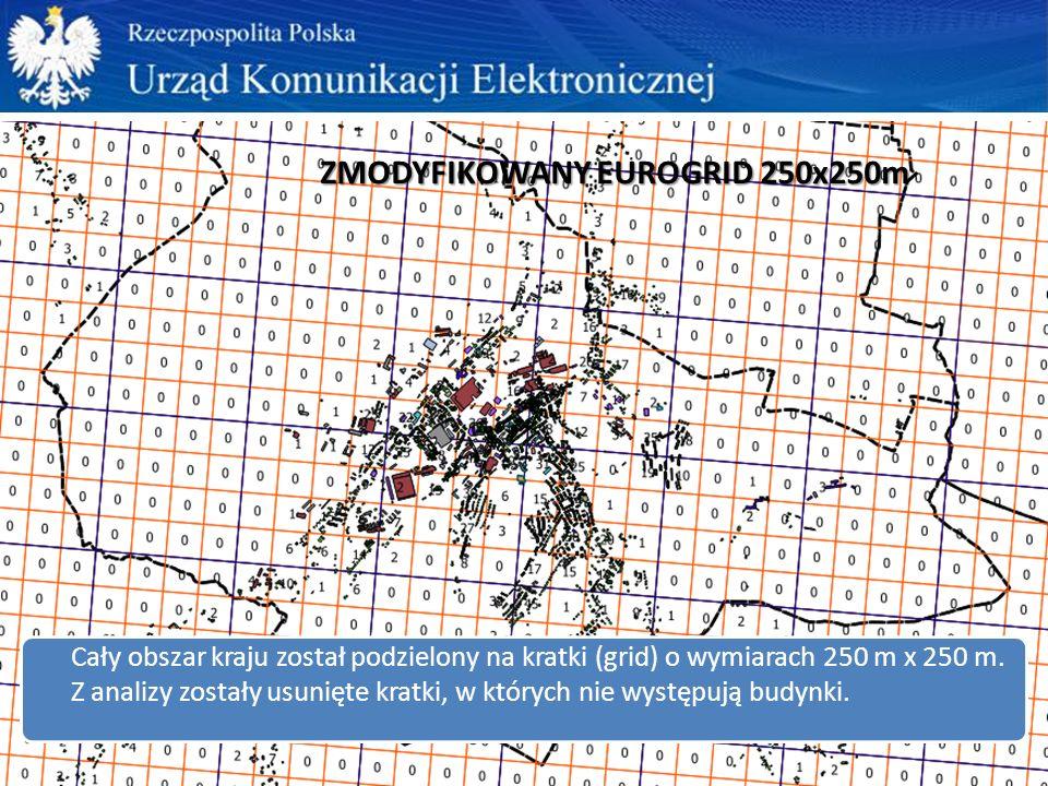 Cały obszar kraju został podzielony na kratki (grid) o wymiarach 250 m x 250 m. Z analizy zostały usunięte kratki, w których nie występują budynki. ZM