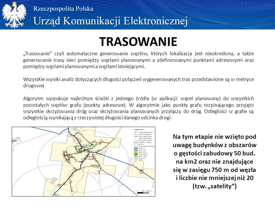 WYZNACZENIE OPTYMALNEGO PRZEBIEGU SIECI powiat lub grupa powiatów sieć drogowa (BDOT10K – OT_SKDR) od węzłów istniejących minimum 20 budynków maksymalnie 750m