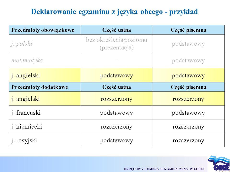 OKRĘGOWA KOMISJA EGZAMINACYJNA W ŁODZI Deklarowanie egzaminu z języka obcego - przykład Przedmioty obowiązkoweCzęść ustnaCzęść pisemna j.