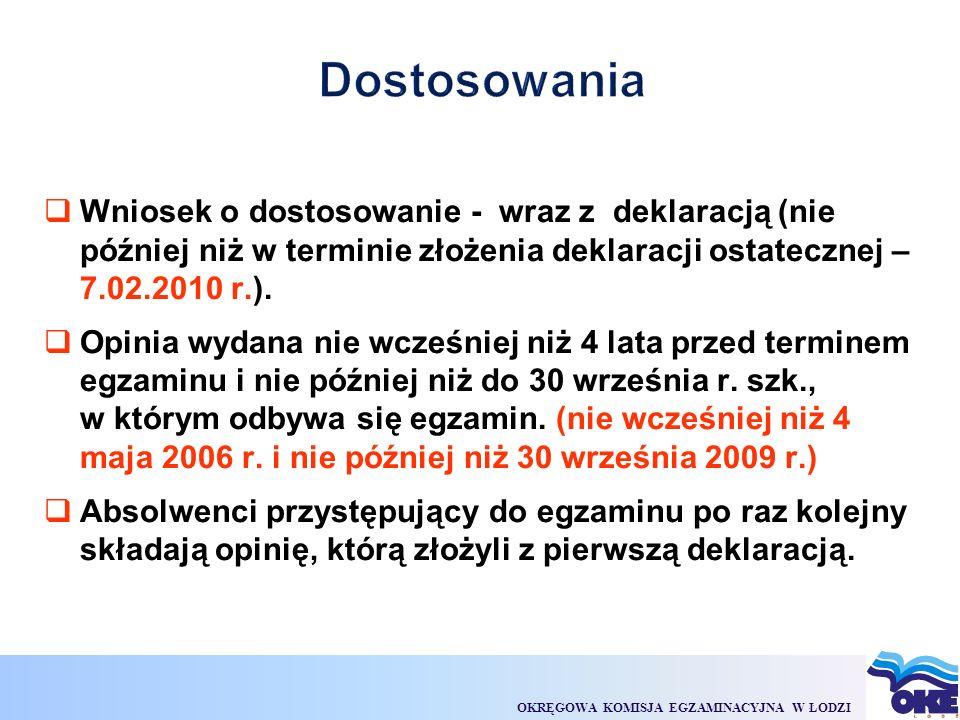 OKRĘGOWA KOMISJA EGZAMINACYJNA W ŁODZI  Wniosek o dostosowanie - wraz z deklaracją (nie później niż w terminie złożenia deklaracji ostatecznej – 7.02.2010 r.).