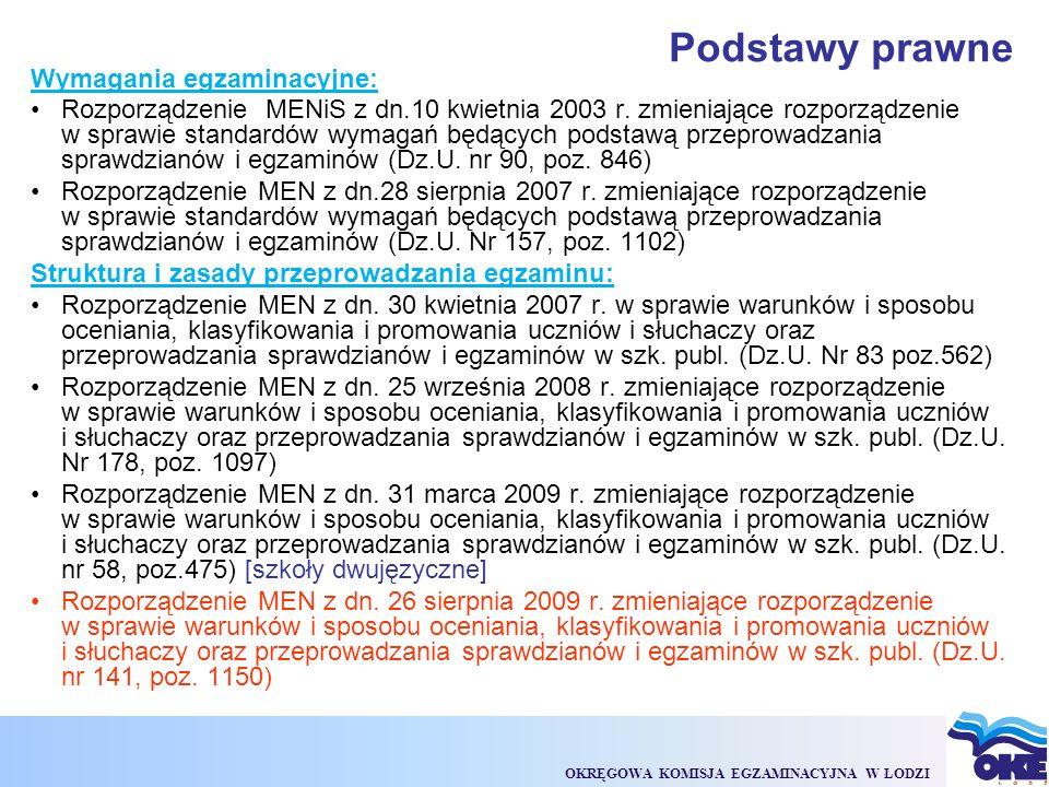 OKRĘGOWA KOMISJA EGZAMINACYJNA W ŁODZI Podstawy prawne Wymagania egzaminacyjne: Rozporządzenie MENiS z dn.10 kwietnia 2003 r.