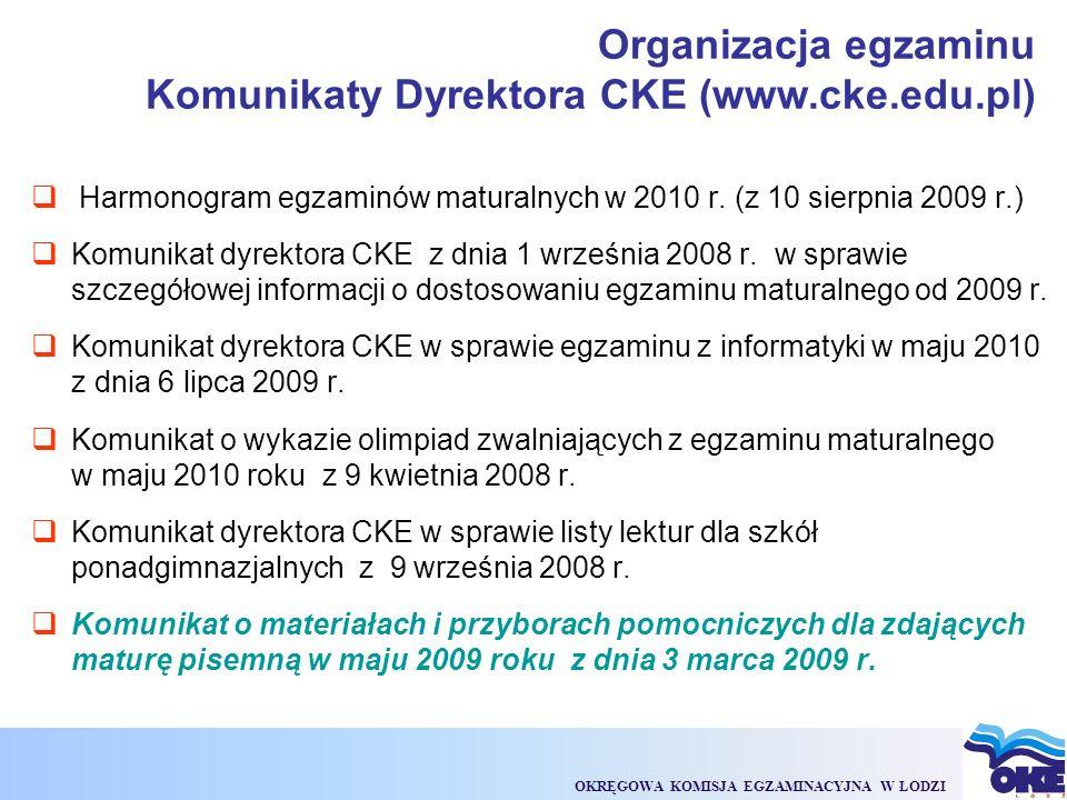 OKRĘGOWA KOMISJA EGZAMINACYJNA W ŁODZI  Harmonogram egzaminów maturalnych w 2010 r.
