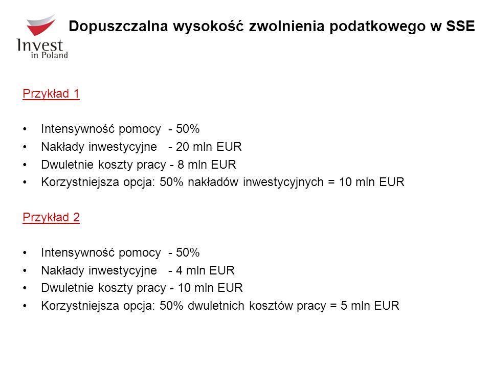 Przykład 1 Intensywność pomocy - 50% Nakłady inwestycyjne - 20 mln EUR Dwuletnie koszty pracy - 8 mln EUR Korzystniejsza opcja: 50% nakładów inwestycyjnych = 10 mln EUR Przykład 2 Intensywność pomocy - 50% Nakłady inwestycyjne - 4 mln EUR Dwuletnie koszty pracy - 10 mln EUR Korzystniejsza opcja: 50% dwuletnich kosztów pracy = 5 mln EUR Dopuszczalna wysokość zwolnienia podatkowego w SSE