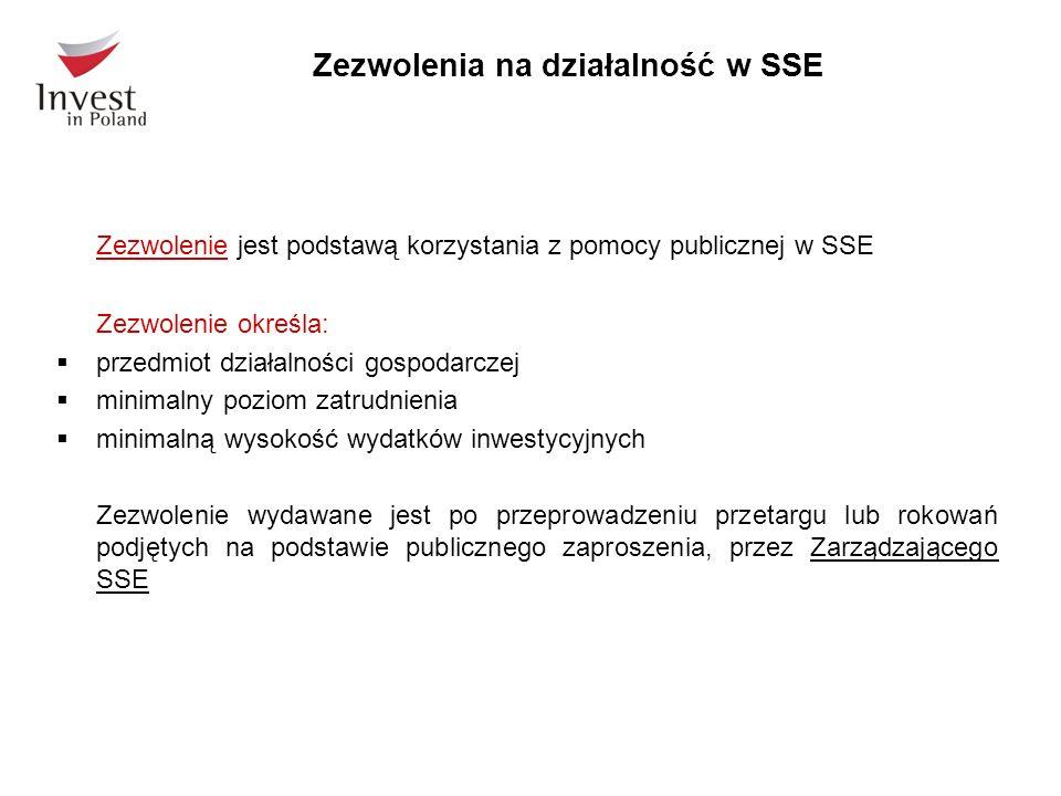 Zezwolenia na działalność w SSE Zezwolenie jest podstawą korzystania z pomocy publicznej w SSE Zezwolenie określa:  przedmiot działalności gospodarczej  minimalny poziom zatrudnienia  minimalną wysokość wydatków inwestycyjnych Zezwolenie wydawane jest po przeprowadzeniu przetargu lub rokowań podjętych na podstawie publicznego zaproszenia, przez Zarządzającego SSE