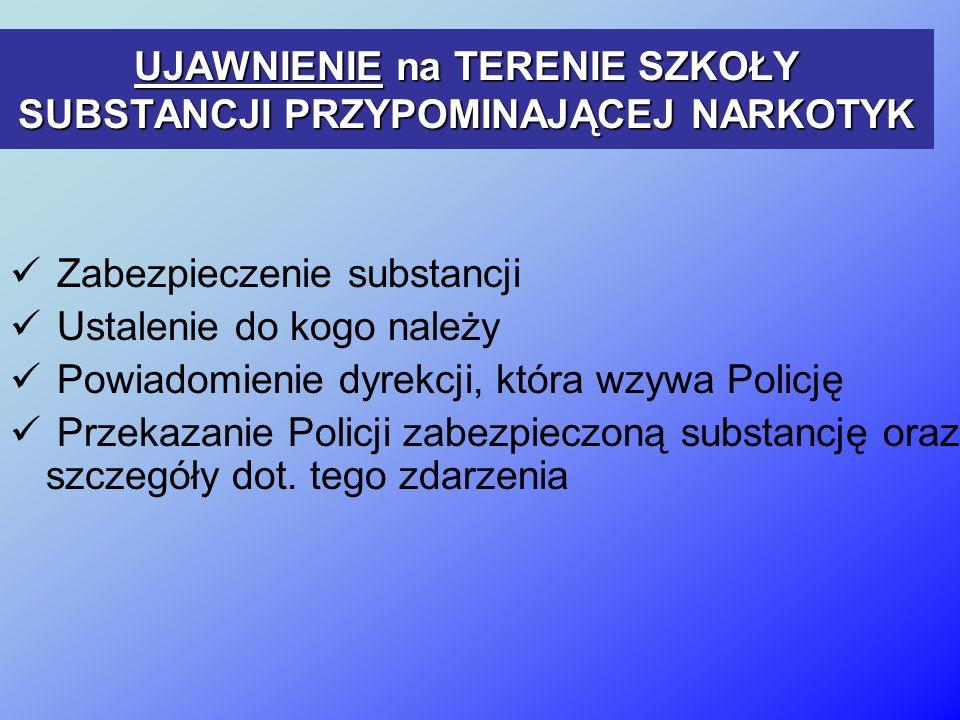 UJAWNIENIE na TERENIE SZKOŁY SUBSTANCJI PRZYPOMINAJĄCEJ NARKOTYK Zabezpieczenie substancji Ustalenie do kogo należy Powiadomienie dyrekcji, która wzywa Policję Przekazanie Policji zabezpieczoną substancję oraz szczegóły dot.