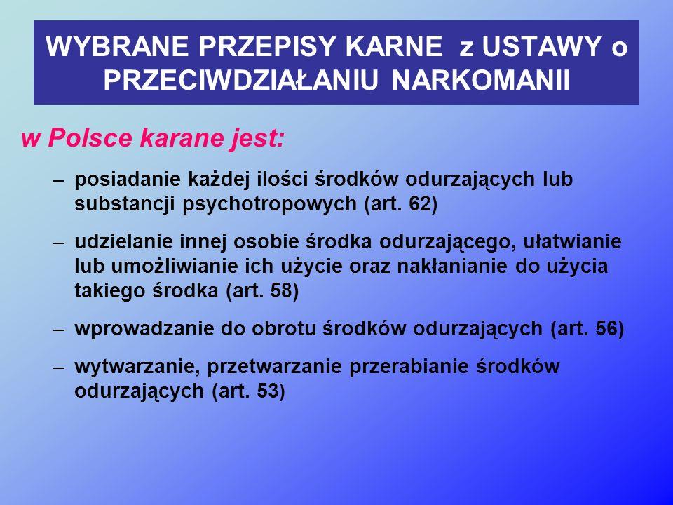 WYBRANE PRZEPISY KARNE z USTAWY o PRZECIWDZIAŁANIU NARKOMANII w Polsce karane jest: –posiadanie każdej ilości środków odurzających lub substancji psychotropowych (art.