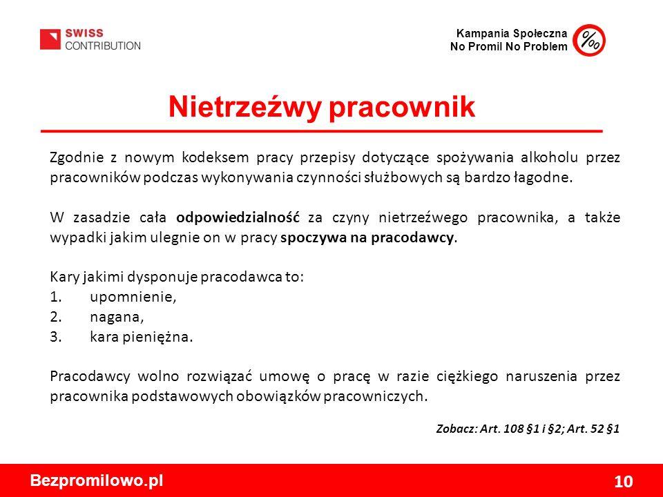 Kampania Społeczna No Promil No Problem Bezpromilowo.pl 10 Nietrzeźwy pracownik Zgodnie z nowym kodeksem pracy przepisy dotyczące spożywania alkoholu przez pracowników podczas wykonywania czynności służbowych są bardzo łagodne.