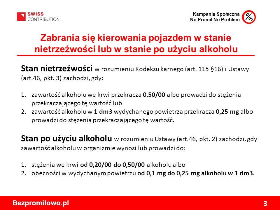 Kampania Społeczna No Promil No Problem Bezpromilowo.pl 3 Zabrania się kierowania pojazdem w stanie nietrzeźwości lub w stanie po użyciu alkoholu Stan nietrzeźwości w rozumieniu Kodeksu karnego (art.