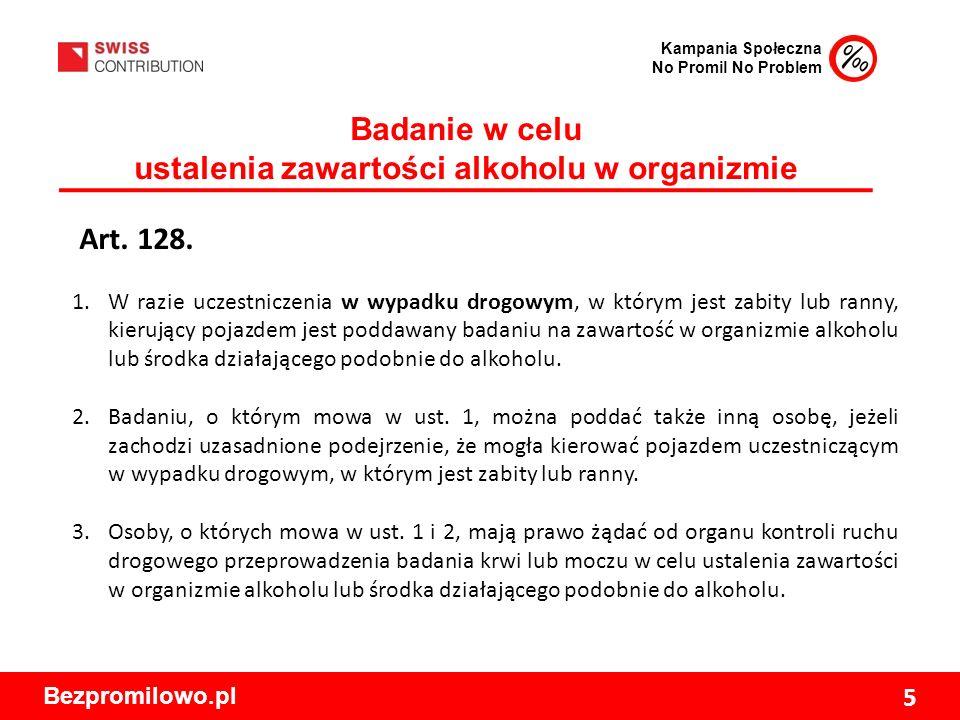 Kampania Społeczna No Promil No Problem Bezpromilowo.pl 5 Badanie w celu ustalenia zawartości alkoholu w organizmie Art.