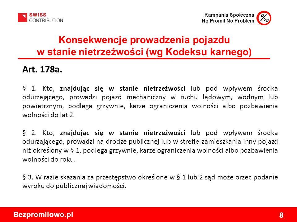 Kampania Społeczna No Promil No Problem Bezpromilowo.pl 8 Konsekwencje prowadzenia pojazdu w stanie nietrzeźwości (wg Kodeksu karnego) Art.
