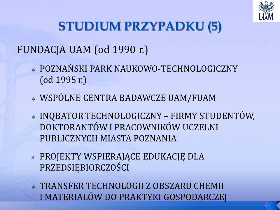 FUNDACJA UAM (od 1990 r.)  POZNAŃSKI PARK NAUKOWO-TECHNOLOGICZNY (od 1995 r.)  WSPÓLNE CENTRA BADAWCZE UAM/FUAM  INQBATOR TECHNOLOGICZNY – FIRMY STUDENTÓW, DOKTORANTÓW I PRACOWNIKÓW UCZELNI PUBLICZNYCH MIASTA POZNANIA  PROJEKTY WSPIERAJĄCE EDUKACJĘ DLA PRZEDSIĘBIORCZOŚCI  TRANSFER TECHNOLOGII Z OBSZARU CHEMII I MATERIAŁÓW DO PRAKTYKI GOSPODARCZEJ