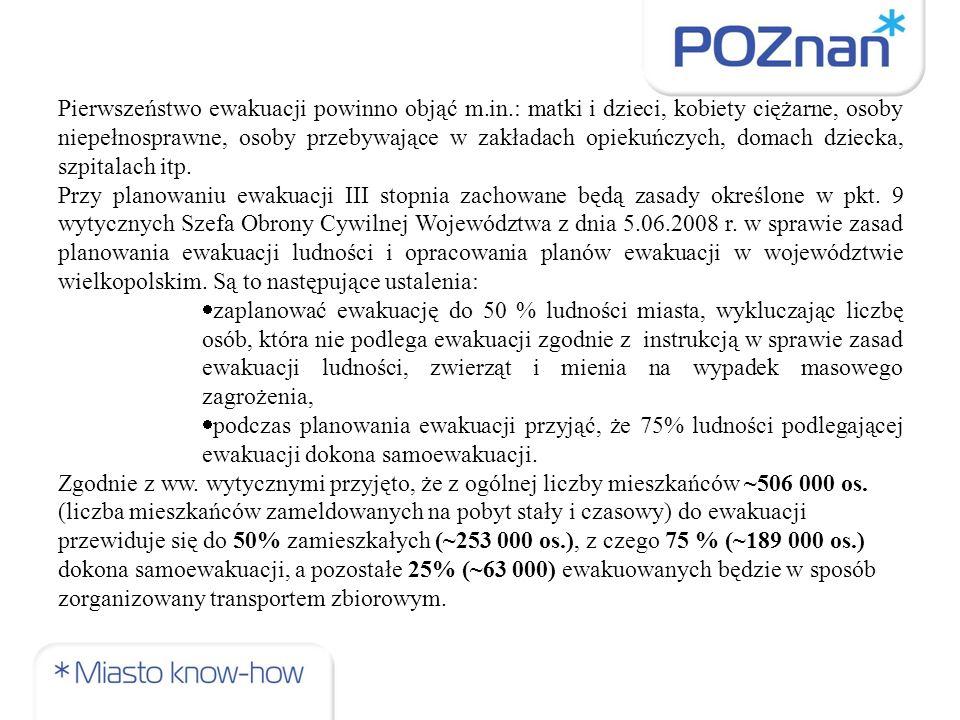 Za ewakuację III stopnia ludności miasta Poznania odpowiedzialny jest Prezydent Miasta Poznania.