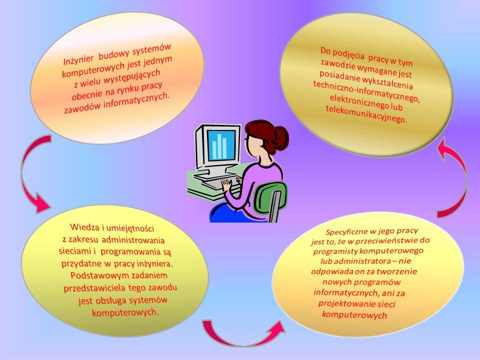 Inżynier budowy systemów komputerowych nadzoruje, projektuje i konstruuje systemy oraz wdraża oprogramowanie systemowe w różnych dziedzinach gospodarki.