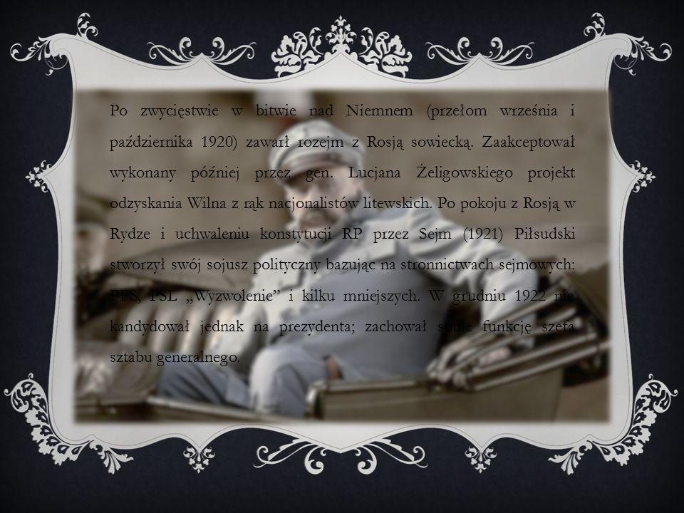 Po zwycięstwie w bitwie nad Niemnem (przełom września i października 1920) zawarł rozejm z Rosją sowiecką.
