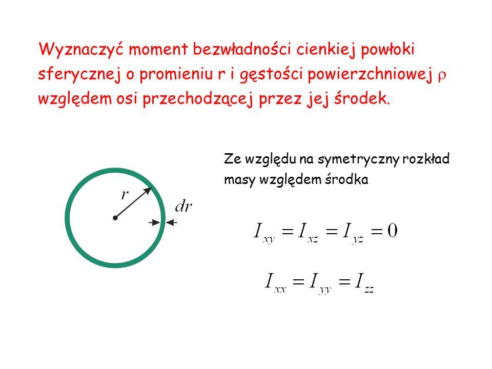 Wyznaczyć moment bezwładności cienkiej powłoki sferycznej o promieniu r i gęstości powierzchniowej  względem osi przechodzącej przez jej środek. Ze w