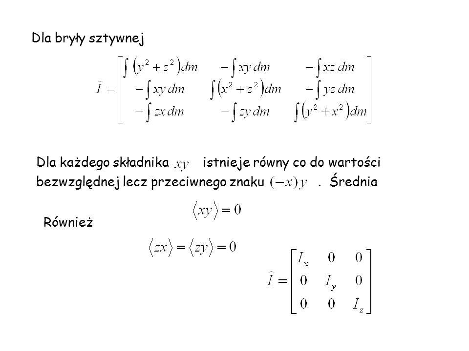 Dla bryły sztywnej Dla każdego składnika istnieje równy co do wartości bezwzględnej lecz przeciwnego znaku. Średnia Również