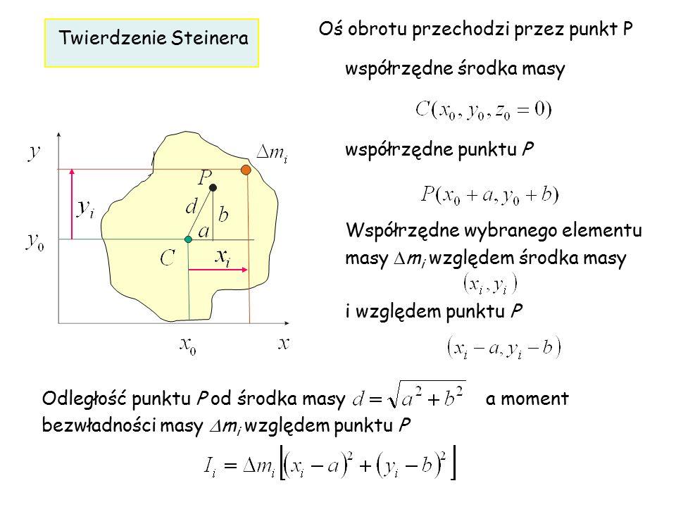 współrzędne środka masy współrzędne punktu P Współrzędne wybranego elementu masy  m i względem środka masy i względem punktu P Twierdzenie Steinera O
