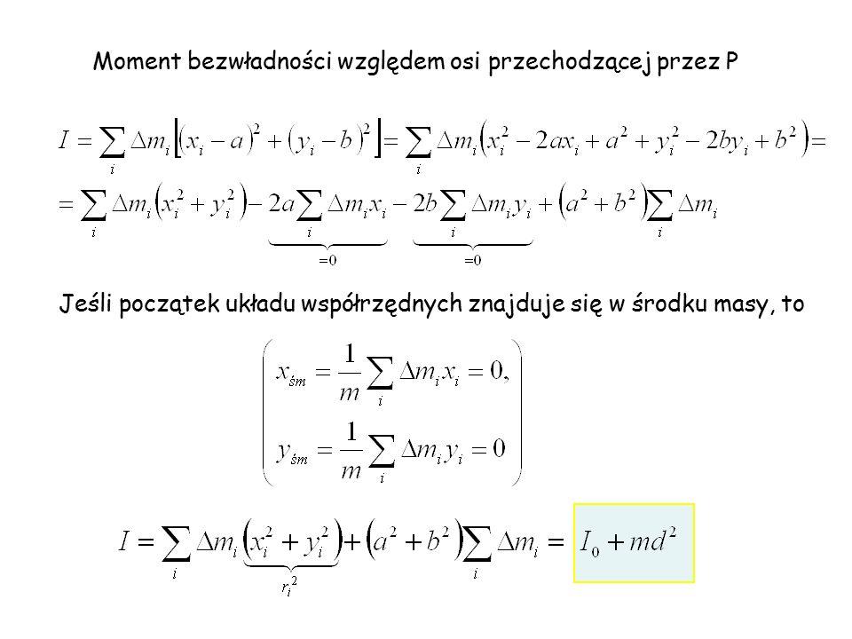 Moment bezwładności względem osi przechodzącej przez P Jeśli początek układu współrzędnych znajduje się w środku masy, to