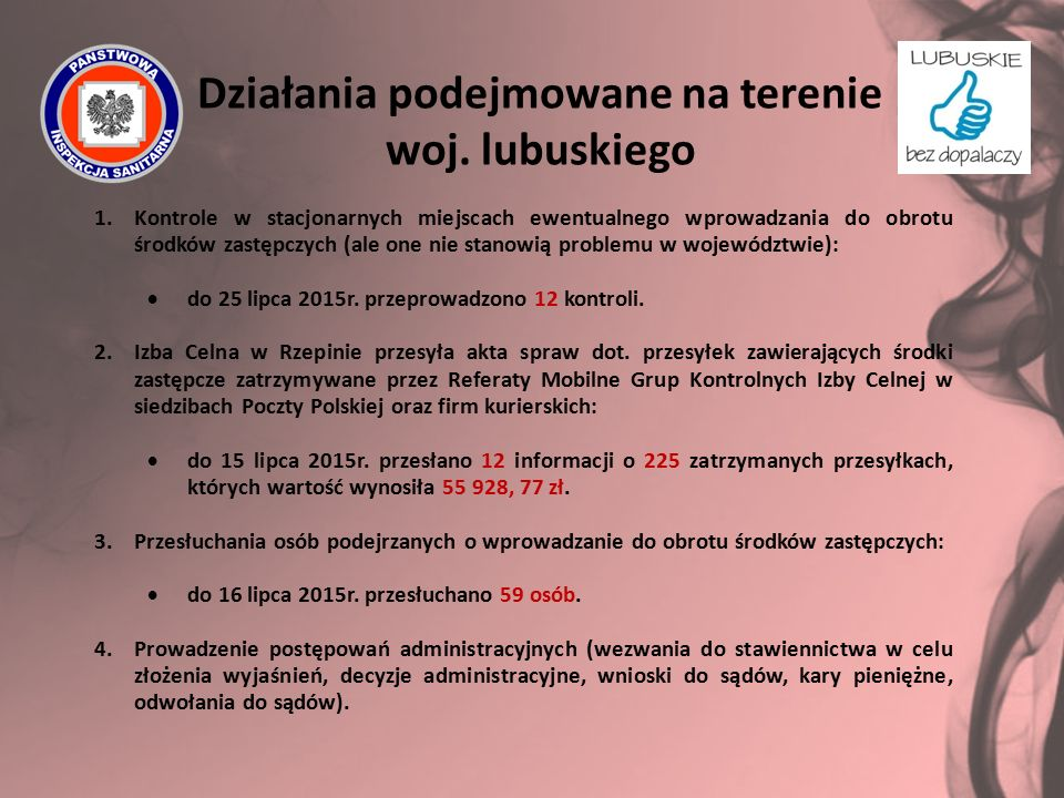 Działania podejmowane na terenie woj. lubuskiego 1.Kontrole w stacjonarnych miejscach ewentualnego wprowadzania do obrotu środków zastępczych (ale one