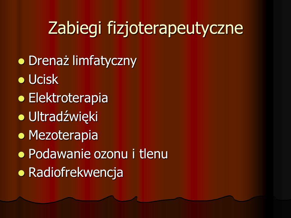 Zabiegi fizjoterapeutyczne Drenaż limfatyczny Drenaż limfatyczny Ucisk Ucisk Elektroterapia Elektroterapia Ultradźwięki Ultradźwięki Mezoterapia Mezot