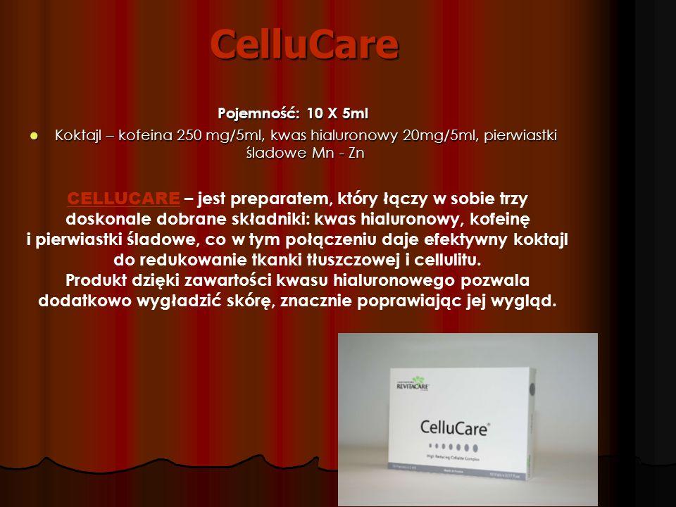 CelluCare Pojemność: 10 X 5ml Koktajl – kofeina 250 mg/5ml, kwas hialuronowy 20mg/5ml, pierwiastki śladowe Mn - Zn Koktajl – kofeina 250 mg/5ml, kwas