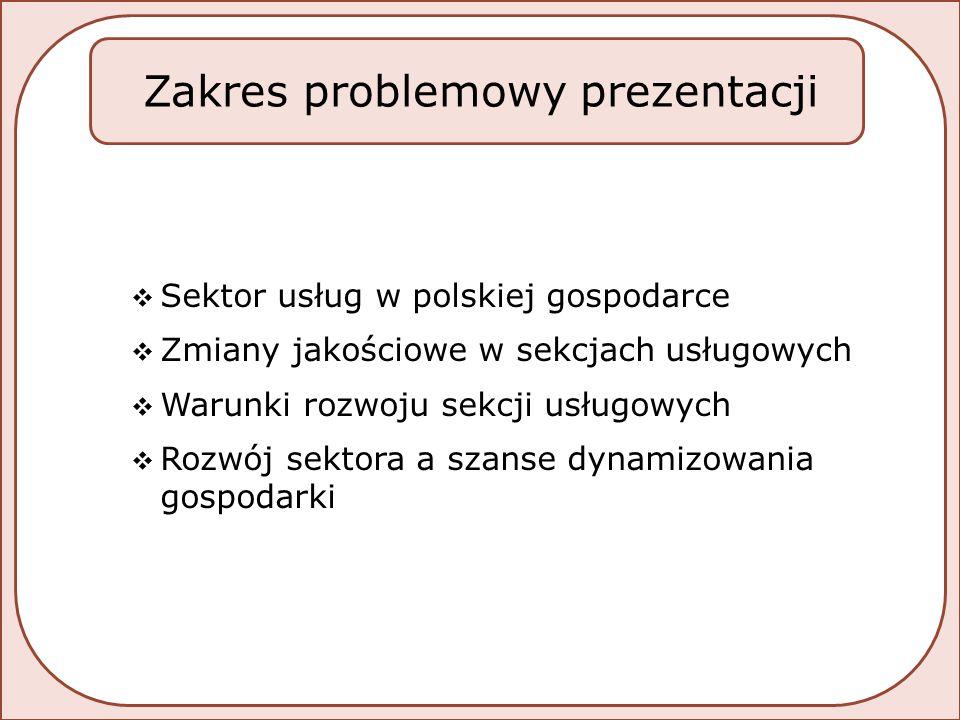 PRZEGLĄD WSKAŹNIKÓW CHARAKTERYZUJĄCYCH ZMIANY UDZIAŁU SEKCJI USŁUGOWYCH W GOSPODARCE NARODOWEJ Sektor usług w polskiej gospodarce
