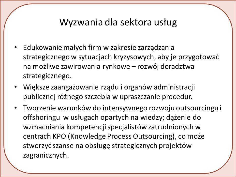 Wyzwania dla sektora usług Edukowanie małych firm w zakresie zarządzania strategicznego w sytuacjach kryzysowych, aby je przygotować na możliwe zawirowania rynkowe – rozwój doradztwa strategicznego.